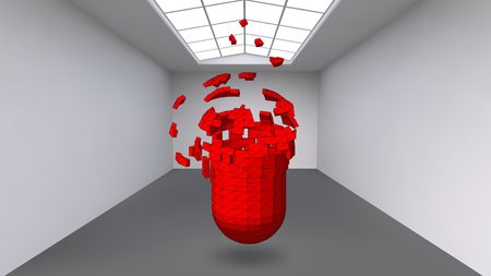 fine particles: Hanging capsule of many small polygons in large empty room. The exhibition space is an abstract object, spherical shape. Capsule at the moment of explosion is divided into fine particles