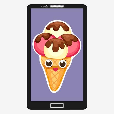 Smartphone con Ice Cream en estilo de dibujos animados plana. Antecedentes de la fresa y helado de vainilla de postre caracteres emoticono de una cara divertida en la pantalla.