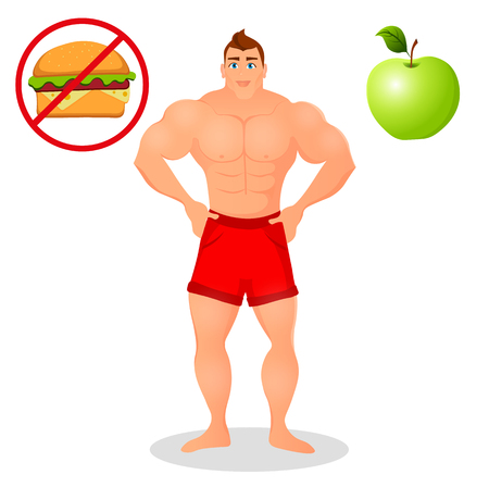 Fitness concept with sport bodybuilder man. Muscular Fitness models. Mens physique athlete. Useful and harmful food. illustration isolated on white background Stock Vector - 68412063