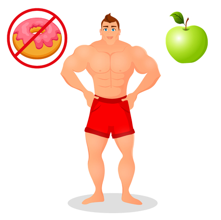 Fitness concept with sport bodybuilder man. Muscular Fitness models. Mens physique athlete. Useful and harmful food. illustration isolated on white background Illustration