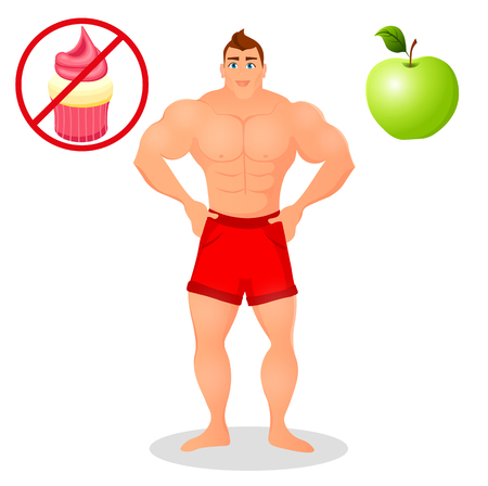 Fitness concept with sport bodybuilder man. Muscular Fitness models. Mens physique athlete. Useful and harmful food.