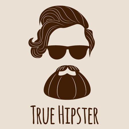 Bearded Hipster silhouette with lettering - True Hipster. Illustration