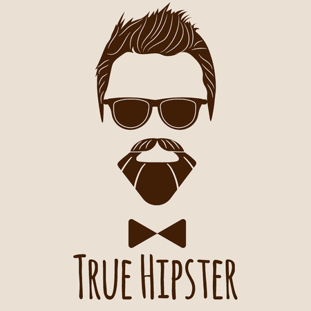 actual: Bearded Hipster silhouette with lettering - True Hipster. Illustration