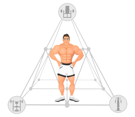 Fitness concept with sport bodybuilder man. Muscular Fitness models. Mens physique athlete. illustration isolated on white background
