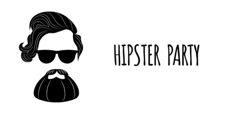 Bearded Hipster silhouette with lettering - Hipster party.