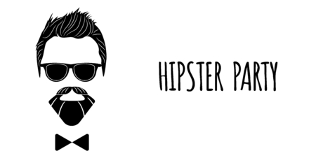 Bearded Hipster silhouette with lettering - Hipster party