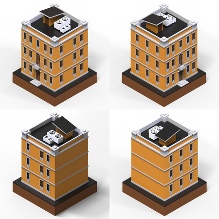 modular home: Orange residential building in a small isolated platform. Raster 3d illustration of a perspective view. Set of 4 types of houses on all sides. 3d rendering