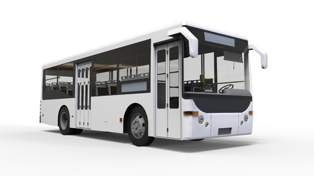 Small urban white bus on a white background. 3d rendering