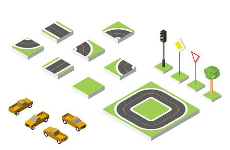 asphalt texture: Set Isometric road and Cars, Common road traffic regulatory. Illustration
