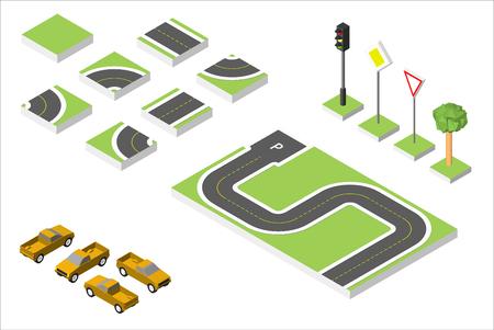 Isometrische weg en auto's instellen, gemeenschappelijke verkeersregelgeving.