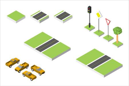road works ahead: Set Isometric road and Cars, Common road traffic regulatory. Illustration
