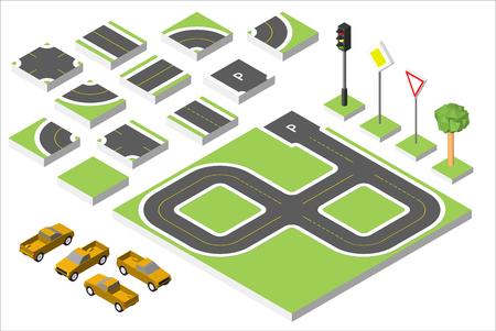 road works ahead: Set Isometric road and Cars, Common road traffic regulatory