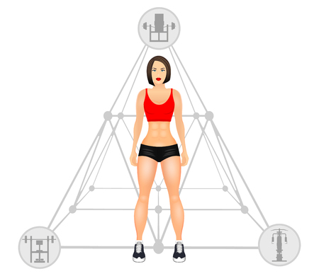Fitness concept with fit woman in sportswear. Muscular Models cartoon girl. Woman with a sporty physique. illustration isolated on white background