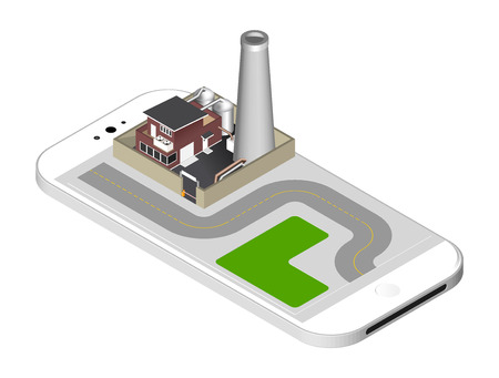 representing: Isometric icon representing factory building with a pipe, cisternae, fence with a barrier - standing on the smartphone screen.