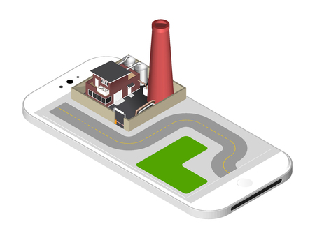 representing: Isometric icon representing factory building with a pipe, cisternae, fence with a barrier - standing on the smartphone screen. illustration isolated on white background
