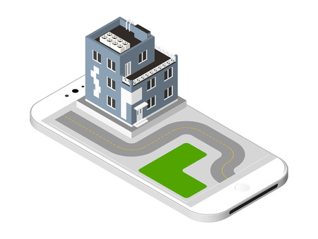 representing: Isometric icon representing modern house with a road standing on the smartphone screen. Urban dwelling Building with a windows and air-conditioning. illustration isolated on white background Illustration