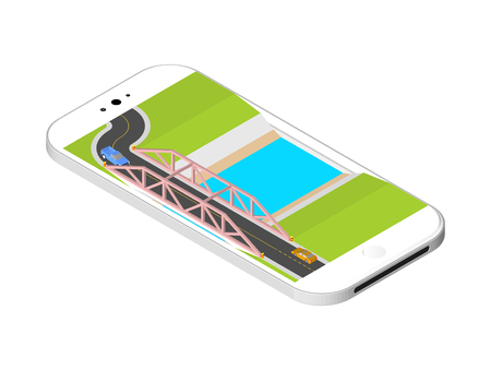 bridge over water: Isometric bridge with a road over the river standing on the smartphone screen. illustration isolated on white background