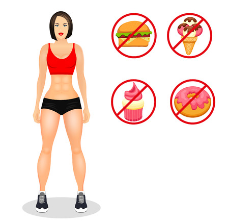 sportswear: Fitness concept with fit woman in sportswear. Muscular Models cartoon girl. Useful and harmful food.background