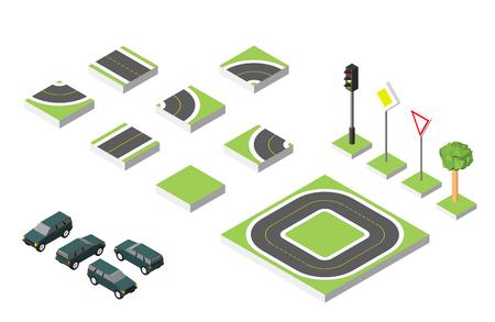 road works ahead: Set Isometric road  Cars, Common road traffic regulatory. Illustration
