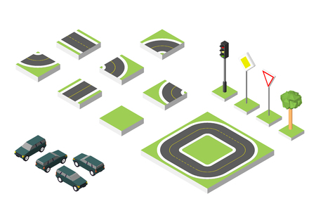 Set Isometric road  Cars, Common road traffic regulatory. Illustration
