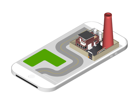 Isometric icon representing factory building with a pipe, cisternae, fence with a barrier - standing on the smartphone screen. illustration isolated on white background