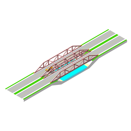bridge over water: Isometric bridge with a road over the river.