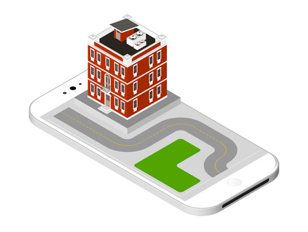 Isometric icon representing modern house with a road standing on the smartphone screen. Urban dwelling Building with a windows and air-conditioning.