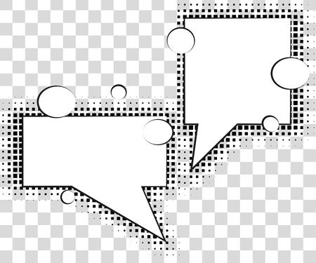 Comic tekstballonnen met halftoon schaduwen. Vector Illustratie