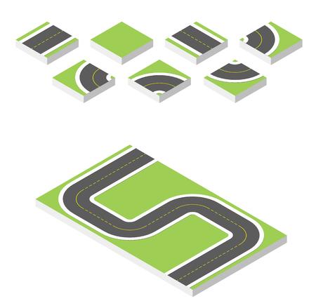 asphalt texture: Isometric road. illustration eps 10 isolated on white background