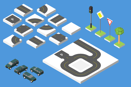 Set Isometric road and Cars, Common road traffic regulatory.
