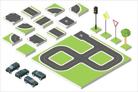 Set Isometric road and Cars, Common road traffic regulatory. Illustration