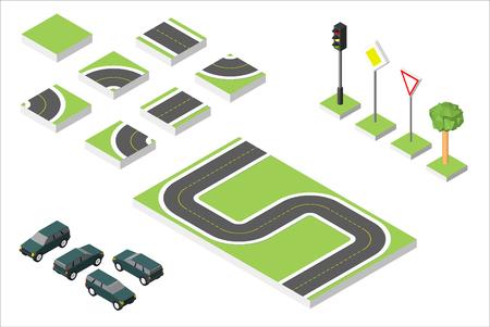 two lane highway: Set Isometric road and Cars, Common road traffic regulatory. Illustration