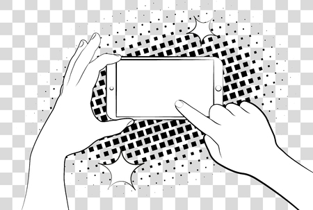 iphon: Comic phablet with halftone shadows. Hand holding smartphone. Sign in page on phone screen.