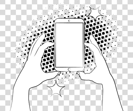 iphon: Comic phablet with halftone shadows. Hand holding smartphone. Illustration
