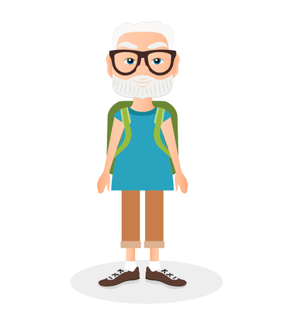 Grandfather with a packsack travel. Travelling with the green knapsack. Flat cartoon style