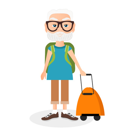 Grandfather with a packsack travel. Travelling with the knapsack.Flat cartoon style Illustration