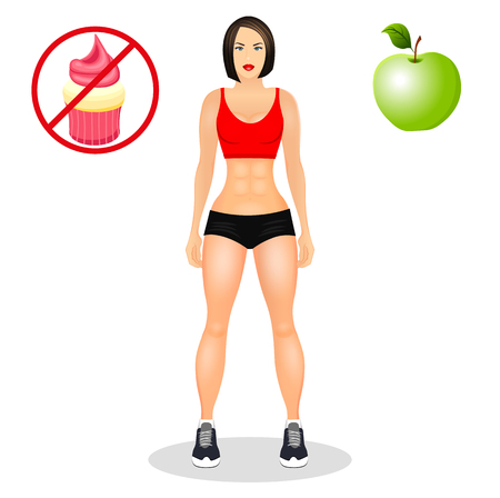 Concept with fit young woman in sportswear. Useful and harmful food. Woman with a sporty physique. illustration isolated on white background