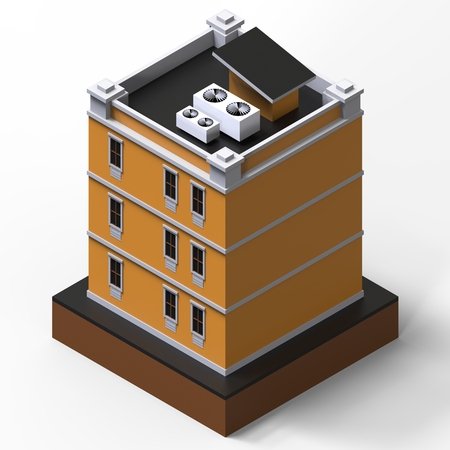 modular home: Orange residential building in a small isolated platform. Raster 3d illustration of a perspective view. 3d rendering