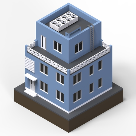 modular home: Blue residential building in a small isolated platform. Raster 3d illustration of a perspective view. 3d rendering Stock Photo