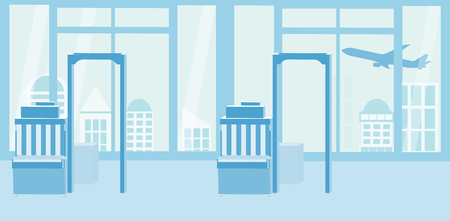 Background of airport interiors. Travel Concept.  Blue silhouette. Illustration