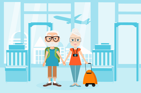 packsack: Grandfather and grandmother with a packsack travel. Travelling with the knapsack. Background of airport interiors. Travel Concept.