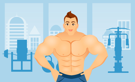 Fitness concept with sport bodybuilder man. Muscular models. Mens physique athlete in a Fitness gym interior. Illustration