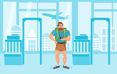 Young Bearded Hipster male in eyeglasses with a packsack travel and camera. Travelling with the knapsack. Background of airport interiors. Travel Concept. Illustration