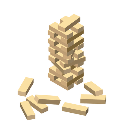 Wood game. Wooden blocks. Vector illustration eps 10 isolated on white background. Isometric cartoon style.