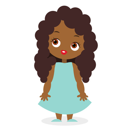 mixed race girl: African American girl. Vector illustration eps 10 isolated on white background. Flat cartoon style. Illustration