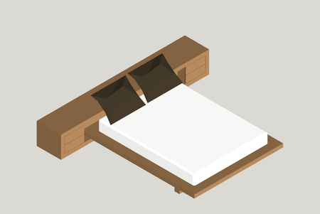 Isometric home furniture - bed. Interior element Bedroom. Vector illustration isolated on background. Illustration