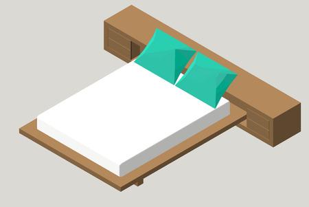 duvet: Isometric home furniture - bed. Interior element Bedroom. Vector illustration isolated on background. Illustration