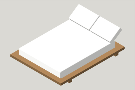 bedroom furniture: Isometric home furniture - bed. Interior element Bedroom. Stock Photo