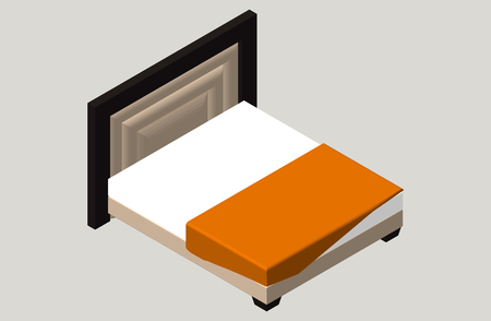 bedroom furniture: Isometric home furniture - bed. Interior element Bedroom