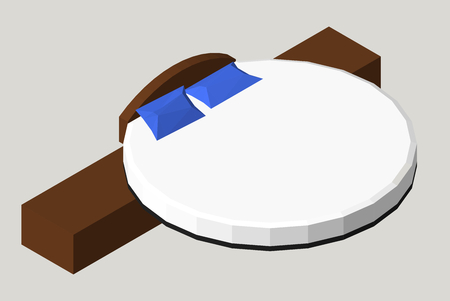 Isometric Home furniture - round bed. Interior element Bedroom. Vector illustration isolated on background.